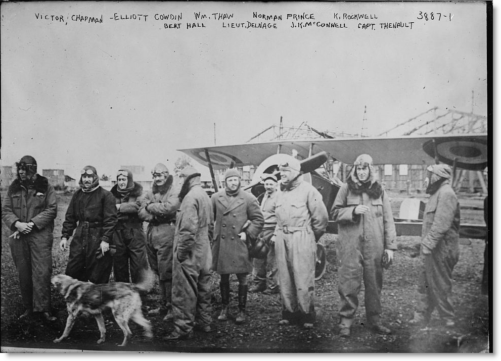 Lafayette_Escadrille_pilots_with_a_Nieuport_16_March1916